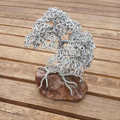 Aluminium Summer Leaf Tree Paperweight Miniature Tree
