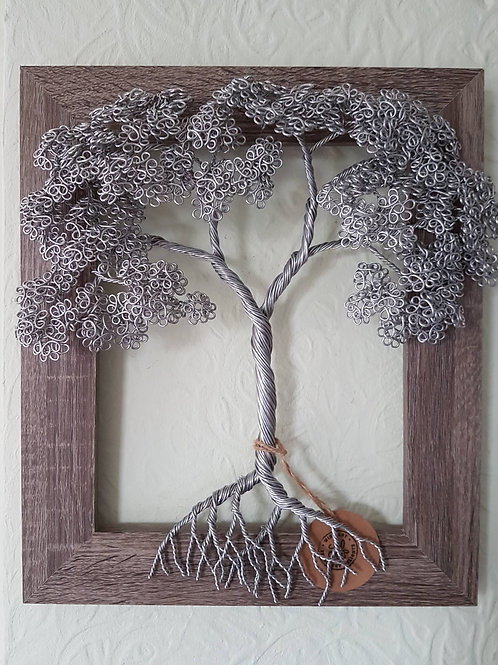 Wire Wall Art, Framed Summer Leaf Tree