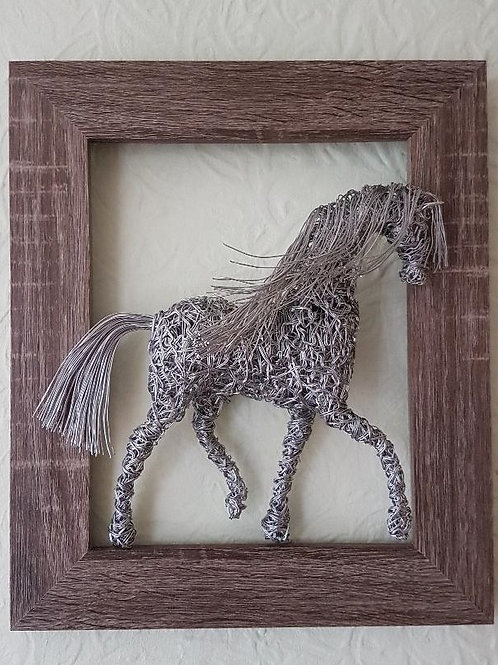 Medium Framed Trotting Horse Sculpture Wall Art