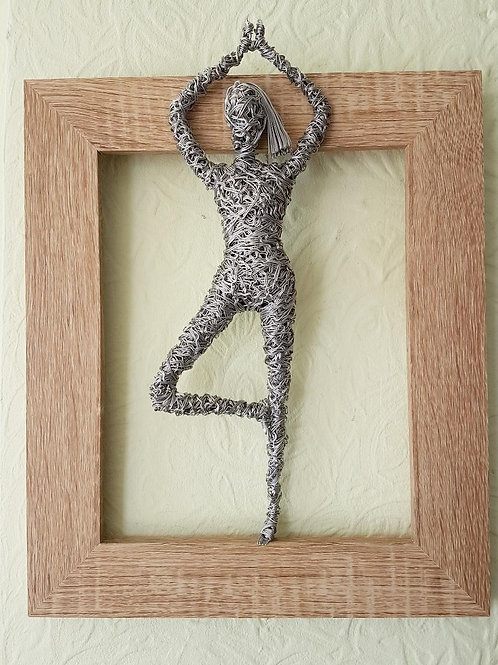 Yoga Pose Lady 3D Wall Mounted Framed Wire Sculpture