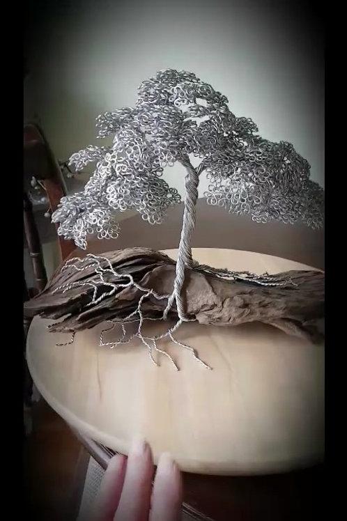 Aluminium Summer Leaf Tree Mounted on Bog Wood Wire Tree Sculpture