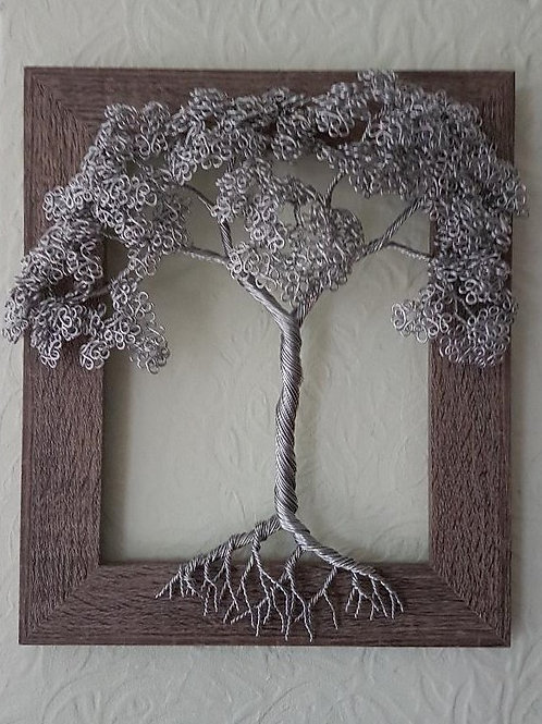 Pretty Framed Wire Tree Sculpture Wall Art
