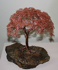 Copper wire tree green slate bonsai tree