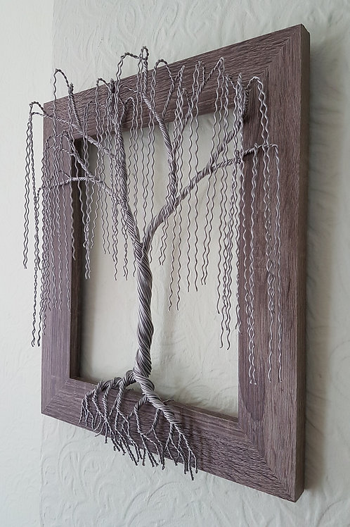 Pretty 3D wall mounted framed willow tree sculpture