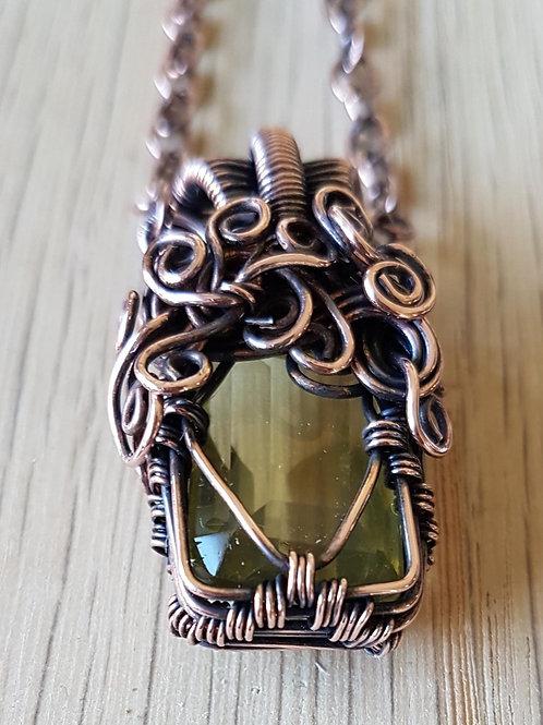 Lemon Quartz Copper Wire Weave Necklace