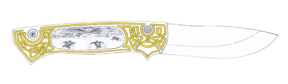 couteau pliant | Entrelacs D'or | Tortue luth sur la plage