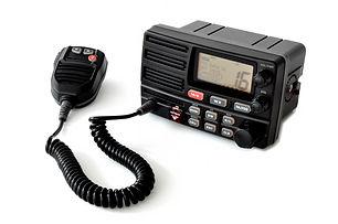 VHF marine radio with speaker microphone