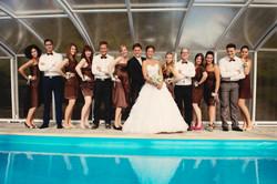 nevěsta, ženich, družičky a dužbové