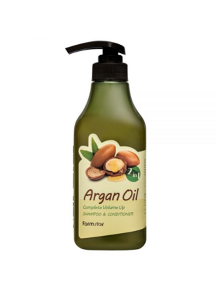 FARM STAY ARGAN OIL 2-IN-1 COMPLETE VOLUME UP SHAMPOO & CONDITIONER 530ml (20% O