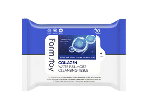 FARM STAY Collagen water Full Moist Cleansing Tissue 120ml (30pcs)