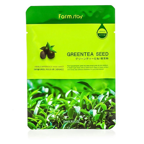 FARM STAY GREEN TEA SEED MASK SHEET 23ml (1 SHEET) (40% OFF)