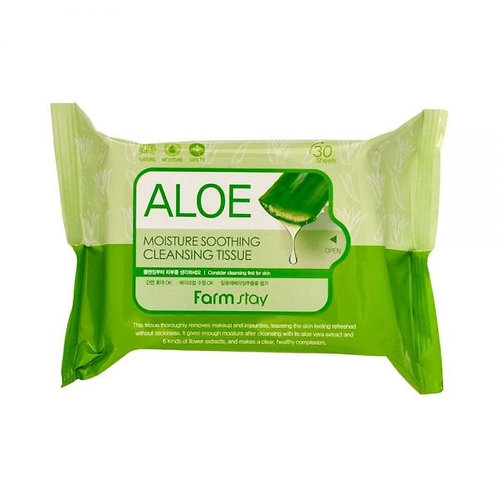 FARM STAY Aloe Moisture Soothing Cleansing Tissue (30pcs)- 120ml