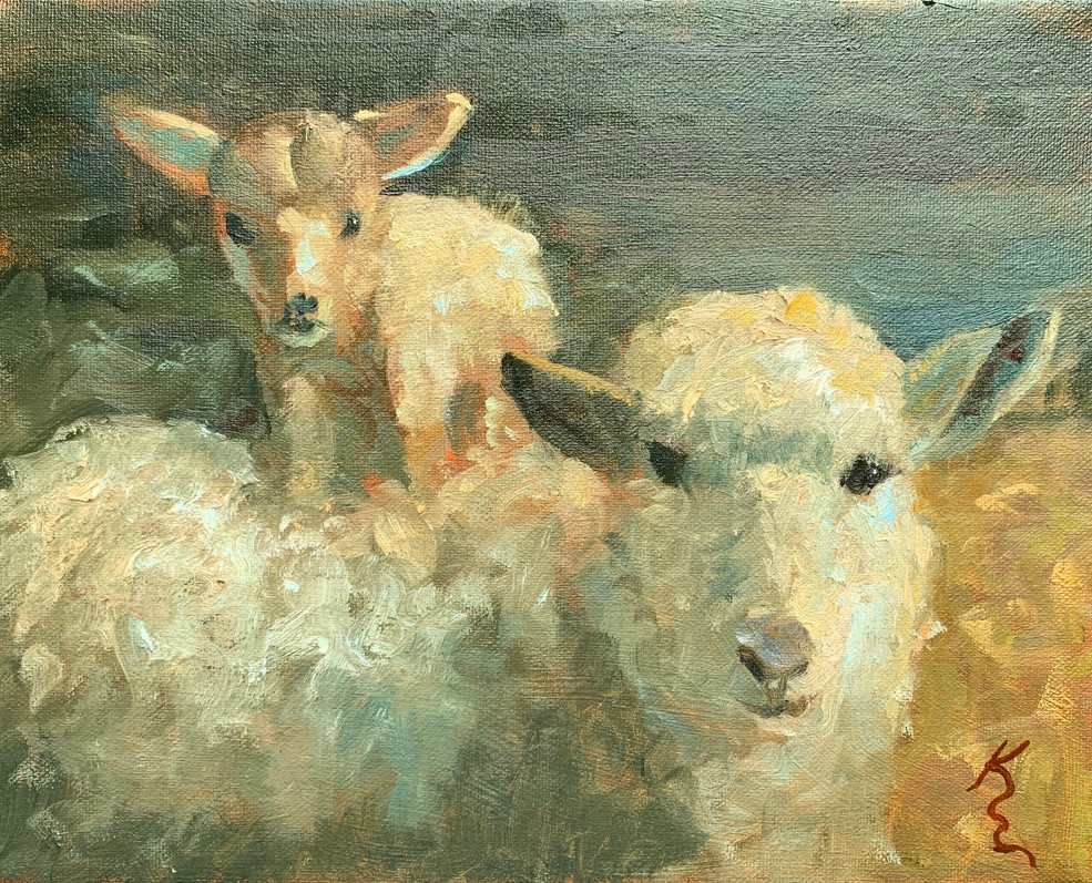 Painting of Mother Sheep and Baby Lamb