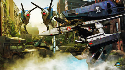 Macross-Gerwalk-In-The-City-Oil-Painting
