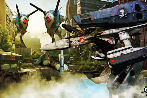 Macross Gerwalk In The City Oil Painting (size 1920x1080mp) by Peter Wang