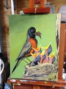 Bird painting in acrylic.
