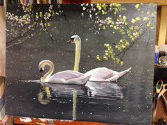Geese oil painting.