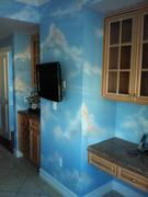 Sky mural on walls