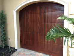 Faux mahogany metal door