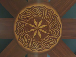 Faux inlaid Wood on a private theater ceiling