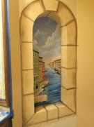 Venice bathroom niche mural