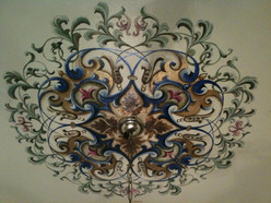 Ceiling design with acrilyc and verigated gold leaf