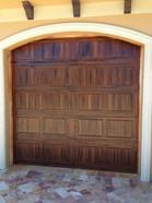 Faux Pecky cypress on metal door