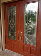 Faux cherry wood on front entry
