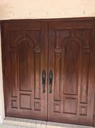 Faux mahogany on front entry doors