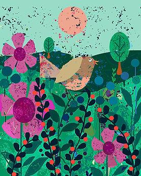 ws BROWN BIRD PINK FLOWERS II.jpg