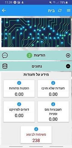 Dashboard - תפריט ראשי + הודעות (פורטל א