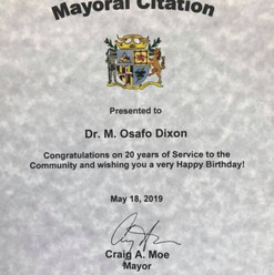 Recieved this honor from the Mayor of Laurel, Maryland in 2019; and, I had a Kente Celebration/Birthday Party.