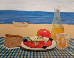Greek food by the sea