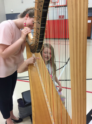 Melanie loves performing Harp Starts at local schools. For more information on how to schedule a presentation, visit: usaihc.org/schedule-a-harp-start/
