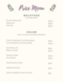 st. johns hair stylist price menu