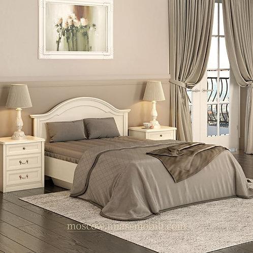 Кровать 1400 без ножной спинки и кованного элемента Екатерина крем