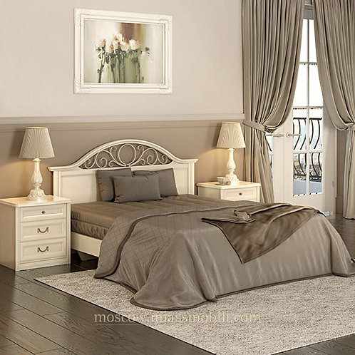 Кровать с КЭ №2 без ножной спинки с ящиком Екатерина крем