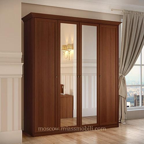 Шкаф 4-дверный для платья и белья Екатерина орех
