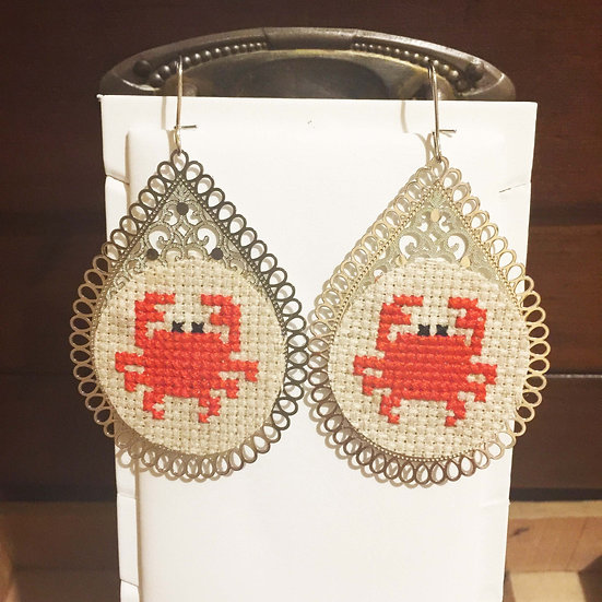 Red Crab Cross Stitch | Earrings