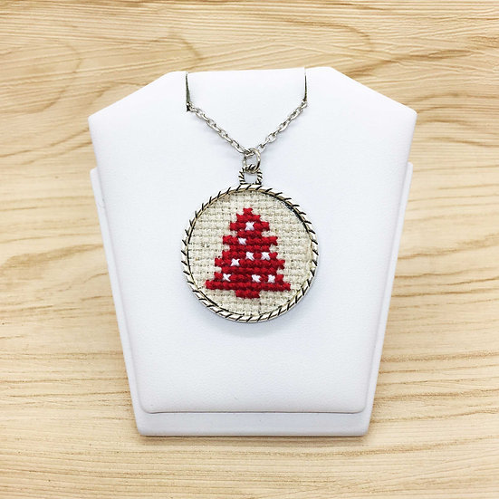 Red Christmas Tree Cross Stitch | Pendant