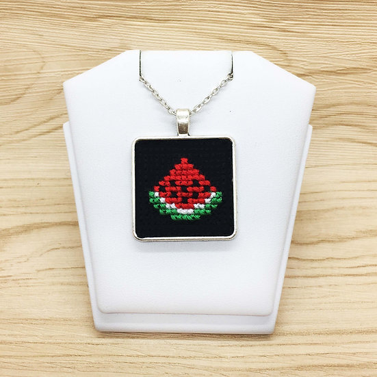 Watermelon Cross Stitch   Pendant
