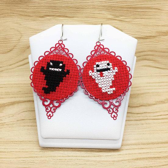 Ghosts Cross Stitch | Earrings