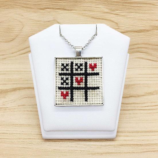 Tic-tac-toe Cross Stitch | Pendant