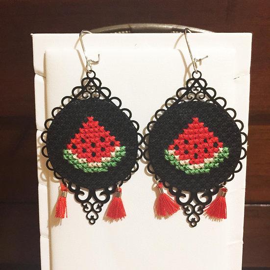Watermelon Cross Stitch | Earrings