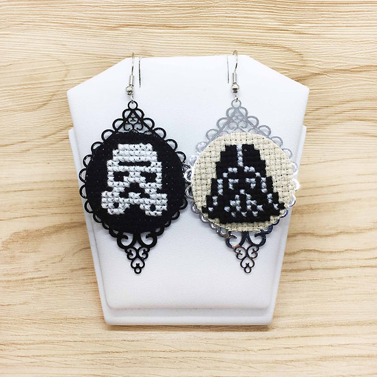 Darth Vader & Storm Trooper Cross Stitch | Earrings