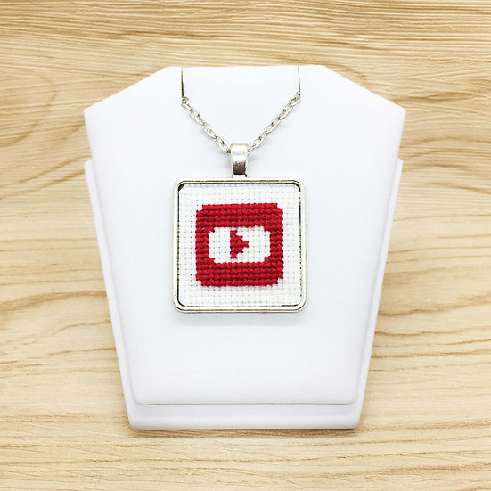 YouTube Logo Cross Stitch | Pendant