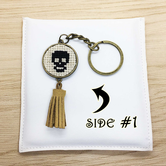 Skull Cross Stitch | Double-Sided Keyring