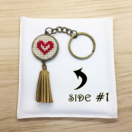Red Heart Cross Stitch   Double-Sided Keyring