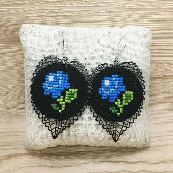 Blue Rose Cross Stitch | Earrings