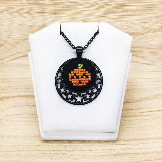 Mini Pumpkin Cross Stitch | Pendant